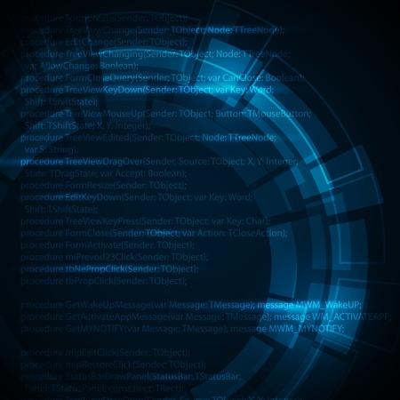 hacking: Astratto sfondo blu scuro tecnico con posto per il vostro testo