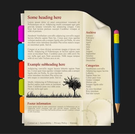 web side: Plantilla de sitio Web - Hoja de papel con l�piz y fichas Vectores