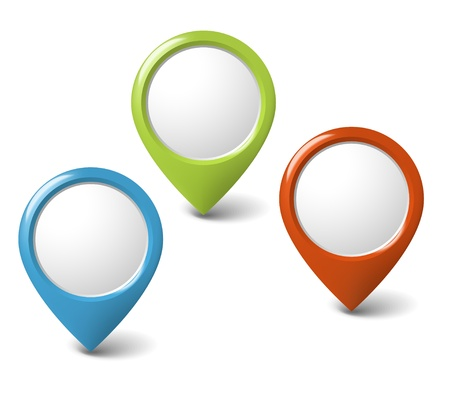 rounded: Set of round 3D pointers with place for your content - red, green, blue