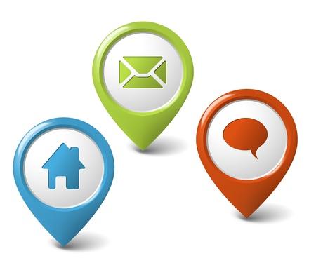 marcador: Conjunto de punteros 3D ronda - inicio, correo electr�nico, chat, discusi�n