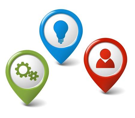 Conjunto de punteros 3D ronda - configuración, el usuario, la idea