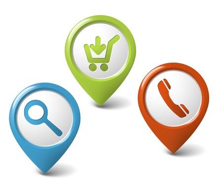 punta: Set di turno 3d puntatori per eshop - ricerca, telefono, acquista adesso Vettoriali
