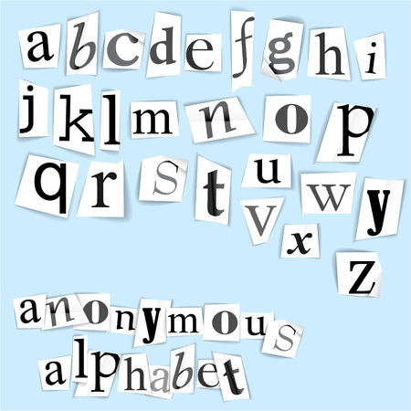 Anonymous alphabet  - white clippings on a light blue background Stock Vector - 9942160