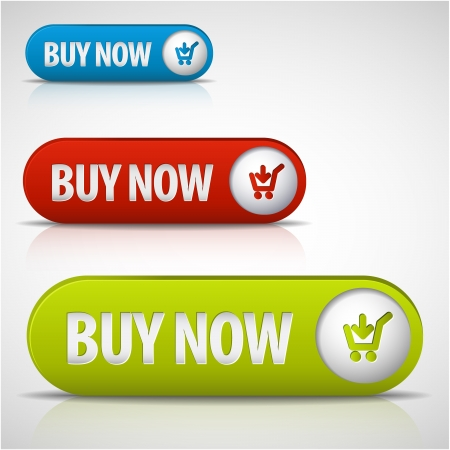 rectangle button: set of buy now buttons - red, green and blue