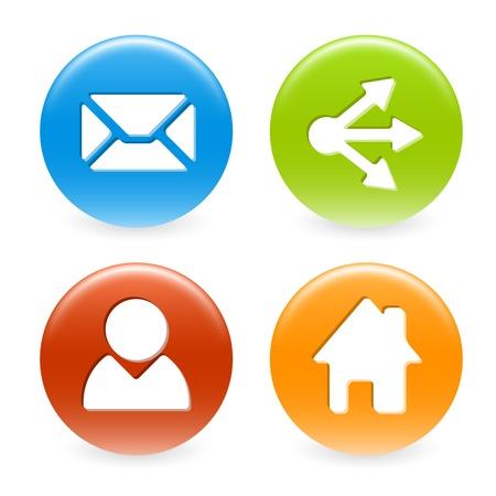 compartiendo: Conjunto de botones de colores web c�rculo (hogar, compartir, usuarios, correo electr�nico)