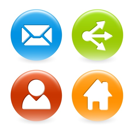 share information: Set of colorful web circle buttons (home, share, users, email)