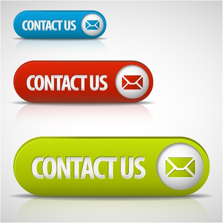 email contact: set of contact us buttons - red, green and blue