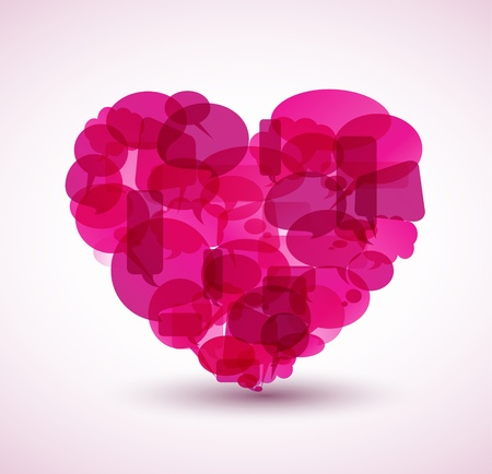 Big heart made from pink cartoon bubbles Vector