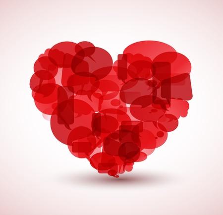 cartoon heart: Big heart made from red cartoon bubbles
