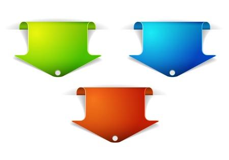 Reeks kleurrijke pijlreferenties - pijl die op de inhoud richten Vector Illustratie