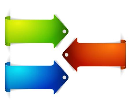 hot announcement: Conjunto de marcadores de tiempo horizontal flecha colorido - flecha en el contenido Vectores