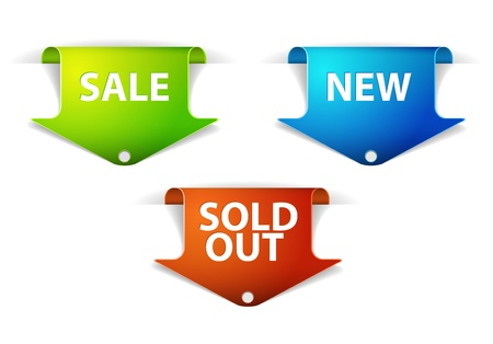 Set of eshop tags for new, sale and sold out items - blue, green and red