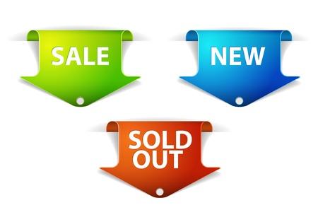 Set eshop tags voor nieuwe, verkoop en uitverkocht items - blauw, groen en rood