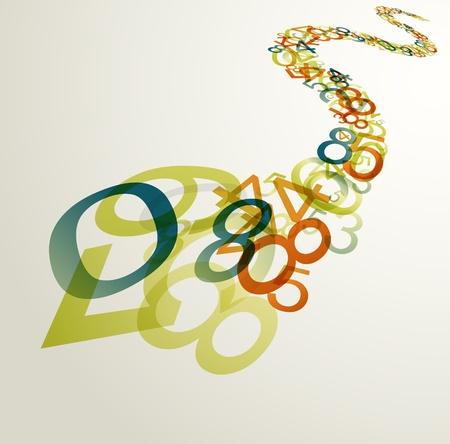Abstract retro background with colorful rainbow numbers Vector