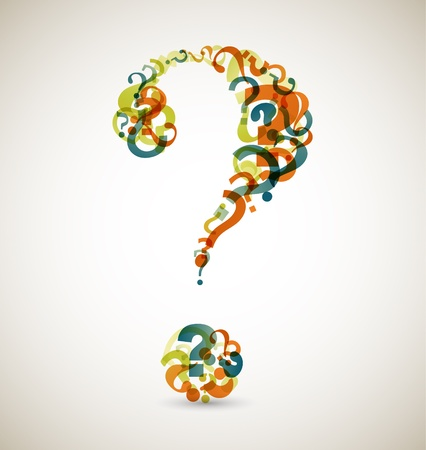 communication metaphor: Big question mark made from smaller question marks (retro colors) Illustration