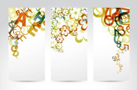 Banner verticale con arcobaleno variopinto numeri, lettere, fiori