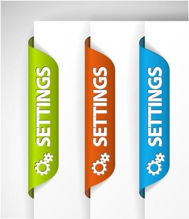 onglet: Les �tiquettes de param�tres  autocollants sur le bord de la page (web) Illustration