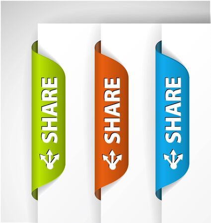Set of share Labels / Stickers on the edge of the (web) page Stock Vector - 9930958