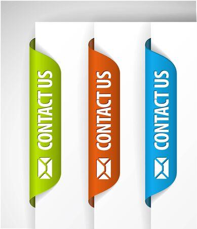 contact info: Contattare noi etichette  adesivi per pagina (web) Vettoriali
