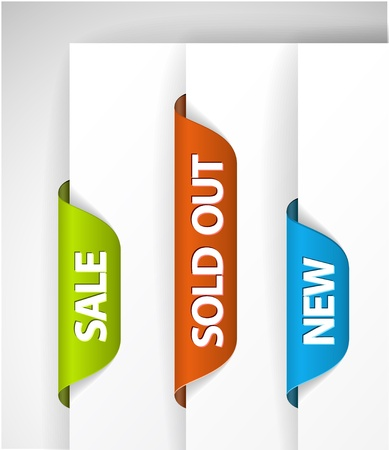 web page elements: Set of eshop tags for new, sale and sold out items - blue, green and red