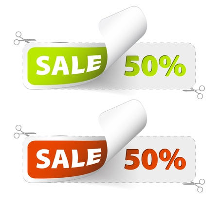 cutoff: Red and green sale coupons (50% discount) Illustration