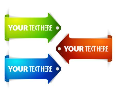 the arrow: Conjunto de marcadores de tiempo horizontal flecha colorido - flecha el contenido con texto de ejemplo Vectores