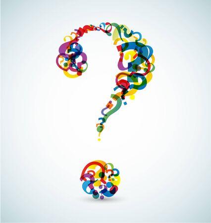 小さい疑問符 (虹色) から作られた大きな疑問符
