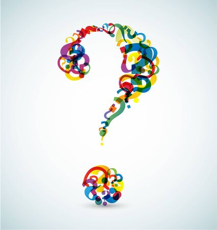 Big question mark made from smaller question marks (rainbow colors) Vector