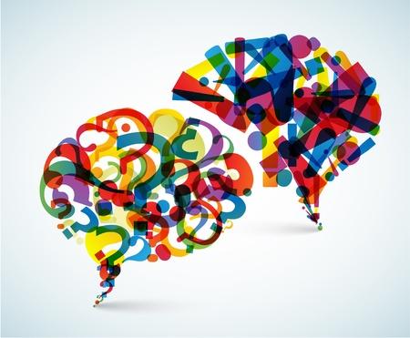Vragen en antwoorden - abstracte illustratie gemaakt van vraag en uitroepteken Vector Illustratie