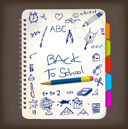 objetos escolares: Al cartel de escuela con doodle ilustraciones en el Bloc de notas