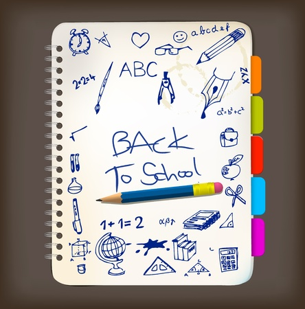 office supplies: Back to school poster with doodle illustrations on notepad Illustration
