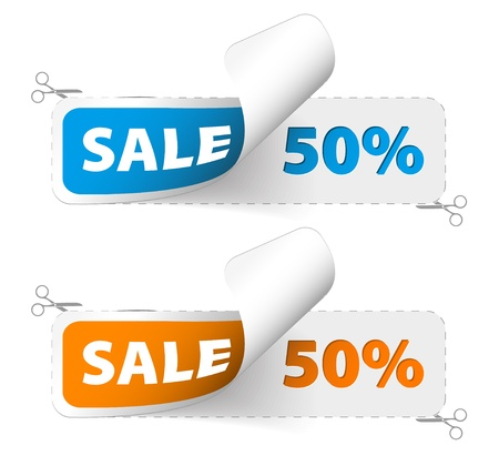 Red and green sale coupons (50% discount) Stock Vector - 10080238