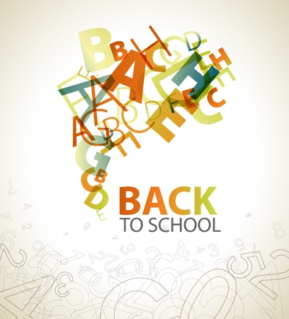 schoolchildren: Abstract Back to School background with retro colored letters