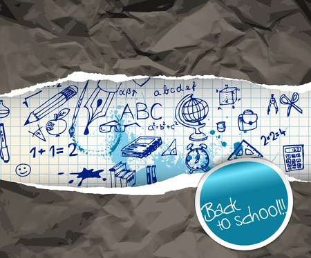 wrinkled paper: Back to school poster with doodle illustrations on squared paper Illustration