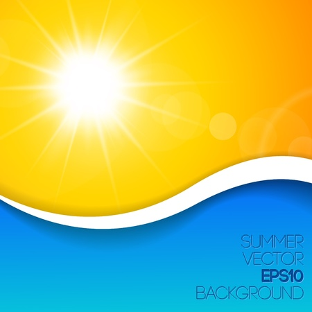Blue and yellow sunny background with place for your content Ilustração