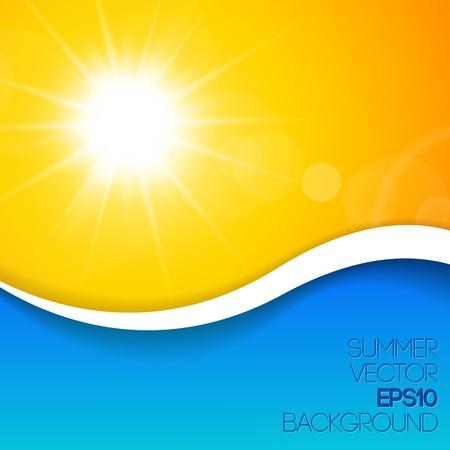 el sol: Fondo soleado azul y amarillo con lugar para el contenido Vectores