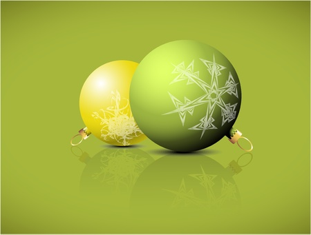 Christmas spheres with snowflakes ornaments on a green background Vector