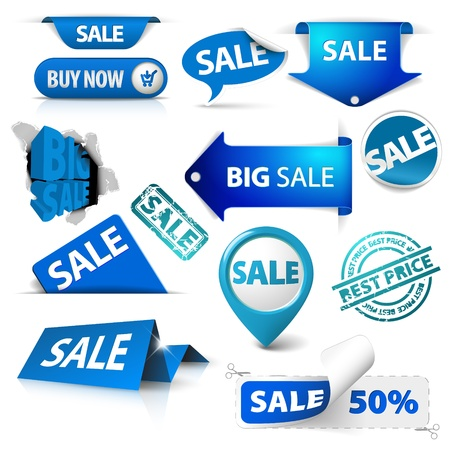Collection of blue sale tickets, labels, stamps, stickers, corners, tags on white background Stock Vector - 10470756