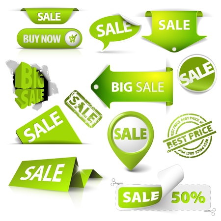 Collection of vector green sale tickets, labels, stamps, stickers, corners, tags on white background