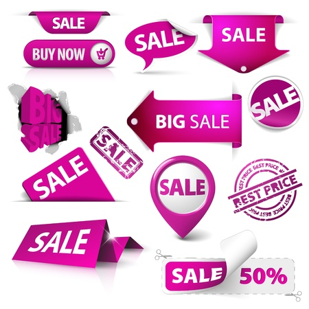 promotional offer: Collection of vector purple sale tickets, labels, stamps, stickers, corners, tags on white background Illustration