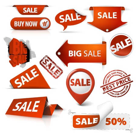 new product on sale: Collection of red sale tickets, labels, stamps, stickers, corners, tags on white background