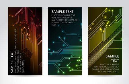Conjunto de modernas banners técnicas verticales oscuros Ilustración de vector