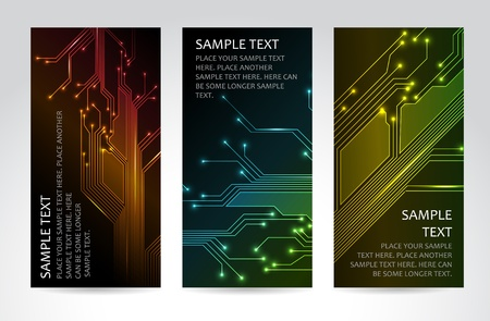 electronic circuit: Set of modern dark vertical technical banners