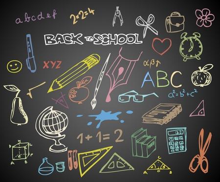 mochila escolar: Volver a la escuela - conjunto de ilustraciones de vectores doodle de escuela en pizarra