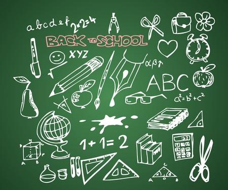Back to school - set of school doodle vector illustrations on green blackboard Vector