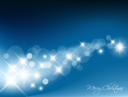 glimpse: Blue Abstract Christmas background with white lights Illustration