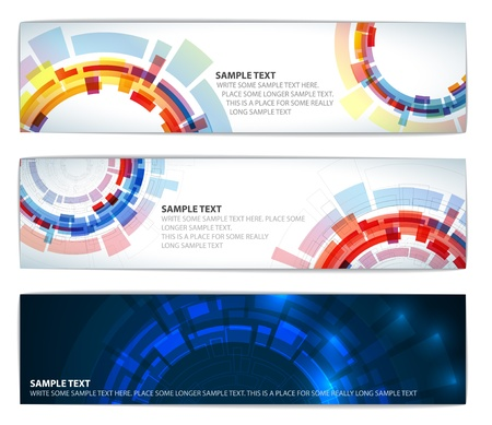 banner effect: Set of abstract colorful technical banners with round elements