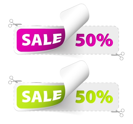 Purple and green sale coupons (50% discount) Vector