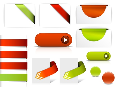 onglet: �l�ments vectoriels rouge et vert pour les pages web - boutons, la navigation, les pointeurs, fl�ches, insignes, des rubans