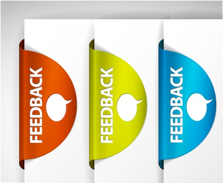 feedback: Vector Feedback Labels  Stickers on the edge of the (web) page Illustration
